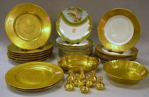 Set of Ten Austrian Porcelain Fish Plates Two Sets of Six Hutschenreuther and a Pair of Wedgwood Gilt Porcelain Dinner Plates a Picka