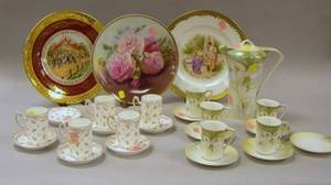 TwelvePiece Japanese Porcelain Chocolate Set Three Scenic Decorated Porcelain Plates and a Set of German Porcelain Chocolate Cups an
