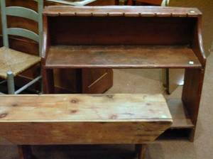 Country Pine Bucket Bench and a Pine Bench