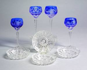 Set of Eight Bohemian Cobalt CuttoClear Glass Wine Stems and a Set of Ten Colorless Cut Glass Dishes