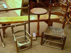 Country Wooden Towel Rack a Pine Bench Pine and Maple Candlestand and Two Slatback Side Chairs