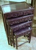 Nest of Four Chinese Carved Hardwood Tables