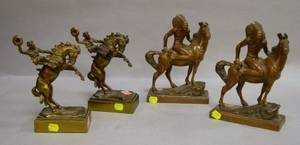 Pair of Pompeian Bronze Cast Metal Cowboy on Horseback Bookends and a Pair of CopperClad Native American on Horseback Bookends