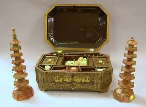 Pair of Miniature Carved Soapstone Temples and a Chinese Export Lacquer Sewing Box with Contents