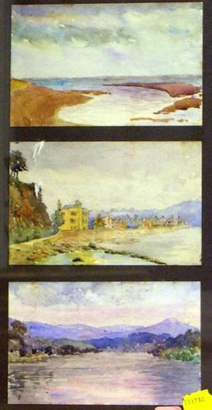 Lot of Three Watercolors in a Common Frame