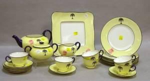 Twentytwo Piece Royal Doulton Art Deco Floral Decorated Porcelain Tea Set