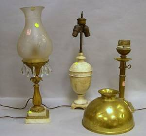 Two Brass Sinumbra Lamps with One Etched Glass Shade and a Carved Alabaster Table Lamp