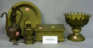 Approximately Ten Asian Brass and Copper Tableware and Decorative Items