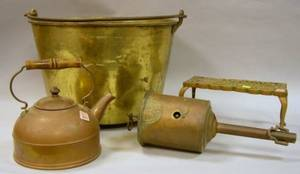 Brass Footman Kettle Copper Hot Water Kettle and Clockwork Roasting Spit