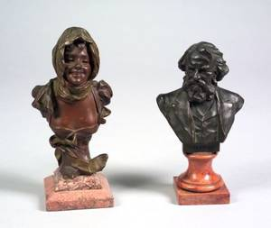 Small Patinated Bronze Bust of a Young Woman and a Patinated Bronze Bust of Longfellow