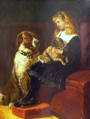 British School 19th Century Portrait of a Seated Girl Holding a Pug with a Large Spaniel Beside Her