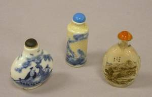 Two Chinese Porcelain Snuff Bottles and an Interior Paint Decorated Glass Snuff Bottle