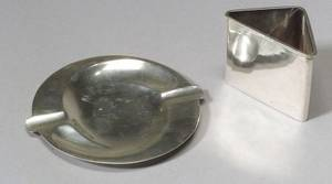 Sanborns Sterling Silver Ashtray and Cigarette Holder and a Lebolt Sterling Silver Hand Mirror