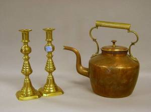 Pair of Brass Beehive Candlesticks and a Brass Mounted Copper Hot Water Kettle