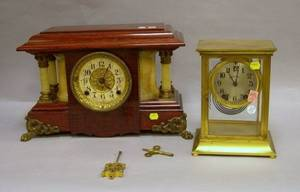Seth Thomas Frenchstyle Brass Mantel Clock and a Seth Thomas Mantel Clock