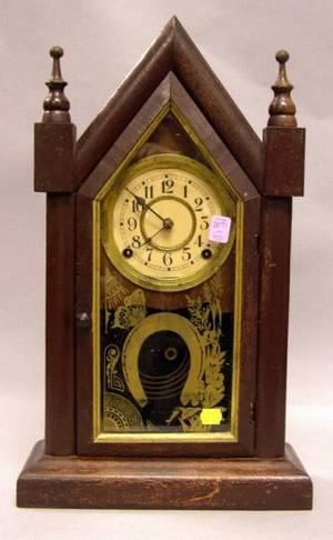 Brown Painted Waterbury Clock Co Steeple Shelf Clock