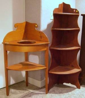 Country Fir Corner Chamber Stand and a Country Pine Corner Etagere
