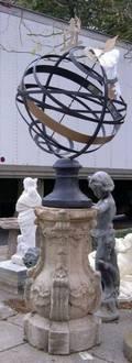 Painted Iron Celestial Sphere on Cast Stone Pedestal Base