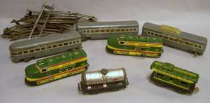 Three Marx New York Central Painted Metal Passenger Train Cars Two Marx Seaboard Air Lines Lithograph Metal Windup Train Engines and