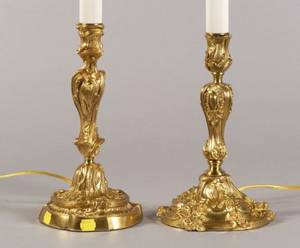 Pair of Louis XV Style Ormolu Candlestick Lamp Bases