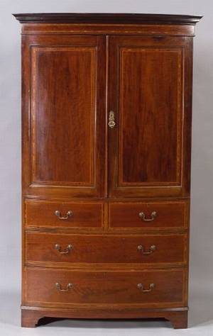 Regency Inlaid Mahogany Linen Press