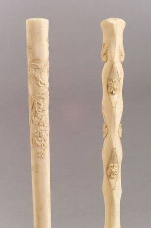 Two Victorian Asian Carved Ivoryhandled Parasols