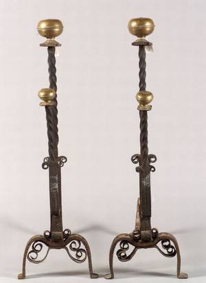 Pair of Large Renaissance Style Wrought Iron and Brass Andirons