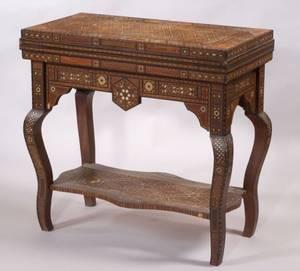 Syrian MotherofPearl Inlaid Hardwood Game Table