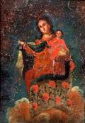 Spanish Colonial School 19th Century Madonna and Child Enthroned in Heaven