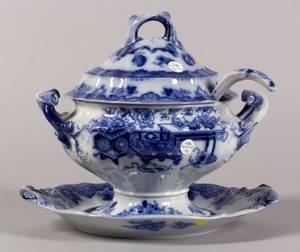 English Ironstone Flow Blue Soup Tureen Underplate and Ladle