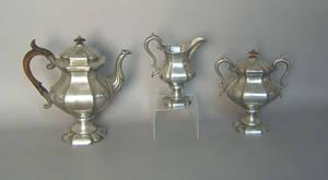 James Dixon  Sons 3pc pewter tea service