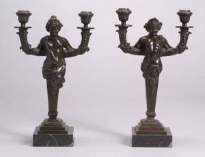 Pair of French Bronze Figural Two Light Candelabra