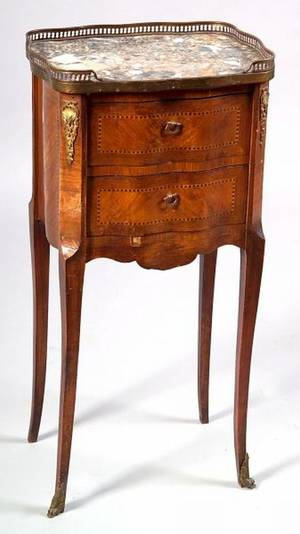 Louis XVXVIstyle Parquetry Inlaid and Marbletop Twodrawer Side Chest