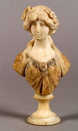 Small Italian Carved Alabaster Bust of a Maiden