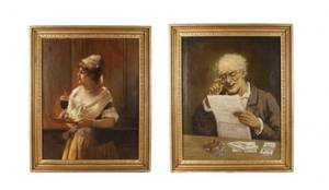 Pair of 19th C English Portraits Oil on Canvas