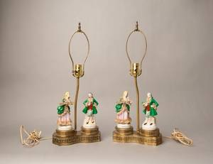 Pair of porcelain figural table lamps