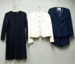 Navy Blue Albert Nippon Evening Ensemble a Cream Wool Oscar de la Renta Coat and a Black Wool Oscar de la Ren