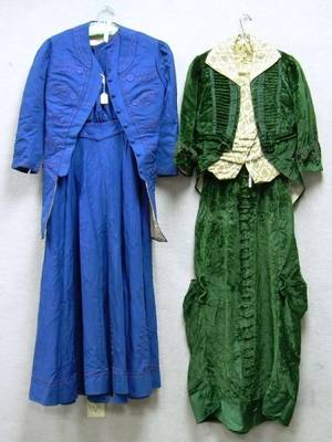 Victorian TwoPiece Embroidered Blue Wool Coat and Dress and a Victorian Twopiece Green Velvet Dress and Jacket