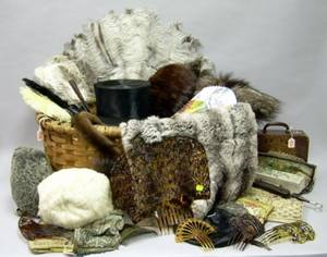 Splint Basket of Assorted Antique Accessories