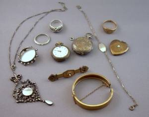 Group of Antique Goldfilled and Sterling Silver Jewelry
