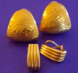 Pair of 14kt and a Pair of 18kt Gold Earclips
