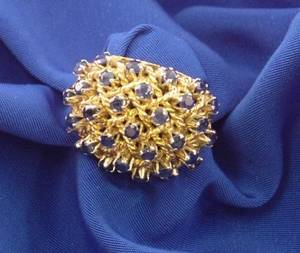 18kt Gold and Sapphire Dome Ring