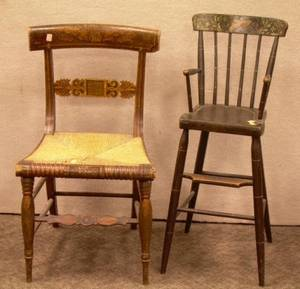 Paint Decorated Childs Windsor High Chair a Classical Grainpainted and Stenciled Side Chair and a Painted Arrowback Side Chair