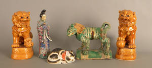 Pair of Chinese pottery foo lions