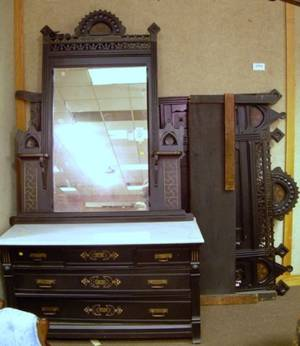 Victorian Eastlaketype Ebonized and Partial Gilt Bedroom Suite