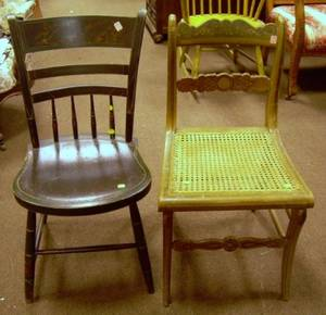 Paint Decorated Side Chair and a Grained and Stenciled Thumbback Side Chair
