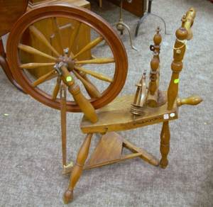 Oak and Maple Spinning Wheel