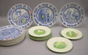 Set of Twelve Wedgwood Blue and White 1936 Yale Plates and a Set of Eight Wedgwood Patrician Torbay Plates