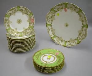 Set of Twelve Haviland Limoges Porcelain Plates and a Platter and a Set of Six Limoges Plates