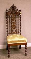 Victorian Gothic Revival Upholstered Carved and Turned Hall Chair